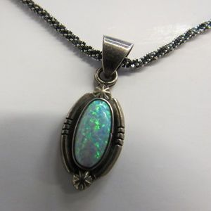 Vintage Opal and Silver Pendant Necklace
